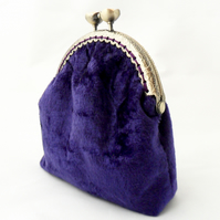 Purple velvet purse