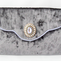 Lavender velvet clutch bag