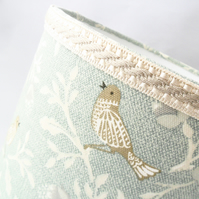 Small lampshade in a bird print fabric