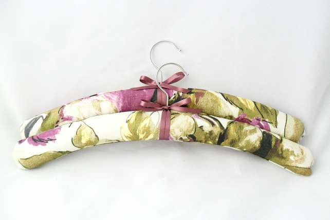 Floral padded coat hangers