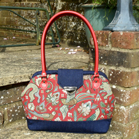 Red and blue handbag
