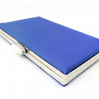 Blue silk evening clutch bag