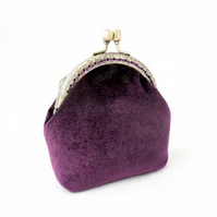 Coin purse in purple velvet