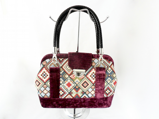 Red velour and tapestry handbag