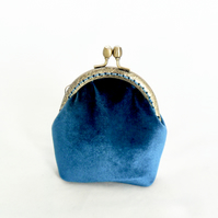 Teal Velvet coin purse