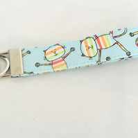 Quirky cat wristlet key fob