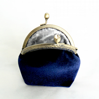 Coin purse in navy velvet