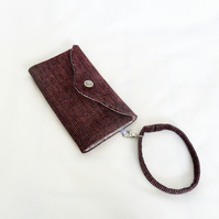 Pink and purple clutch wallet