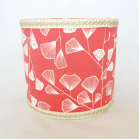Small drum lampshade in coral pink