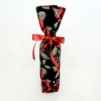 Red and black floral gift bag