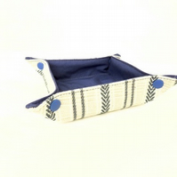 Blue fabric storage tray