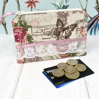 Large floral and lace coin purse