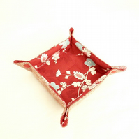 Red floral storage tray