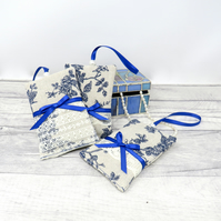 Set of three blue floral lavender bags
