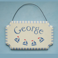 Child's Gift, Sailing Boats Door Plaque