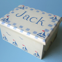 Christening Gift, Boats Keepsake Box