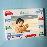Jolly Transport Motifs, Child's Personalised Photo-Frame.