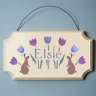 Rabbits, Personalised Door Hanger.