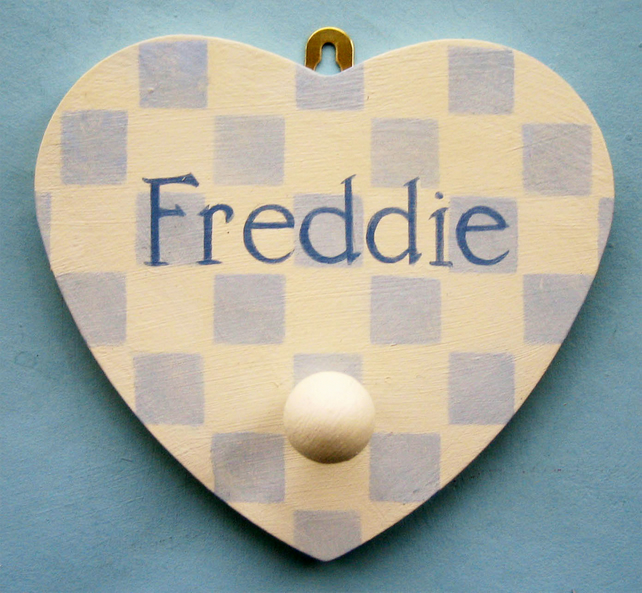 Heart Shape Peg, Personalised Wooden Peg, Nursery Decor