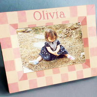 Personalised Photo-Frame With Check, New Born Gift