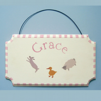 Farm Animals Door Plaque, Personalised Gift