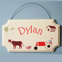 .Retro Farm, Child's Personalised Door Plaque.