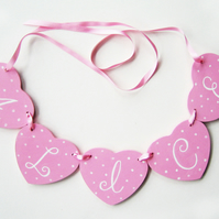 Girl's Gift, Personalised Heart Garland, Cot Decoration