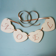 Child's Heart Garland, Wooden Hearts, Personalised.