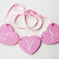 Child's Personalised Heart Garland, Nursery Decor