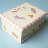 New Born Gift, Farm Animals Keepsake Box