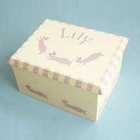 Rabbit Personalised Box, Christening Gift
