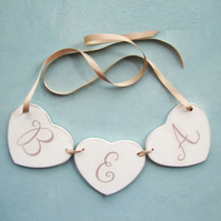 Personalised Heart Garland, Nursery Decor, Christening Gift
