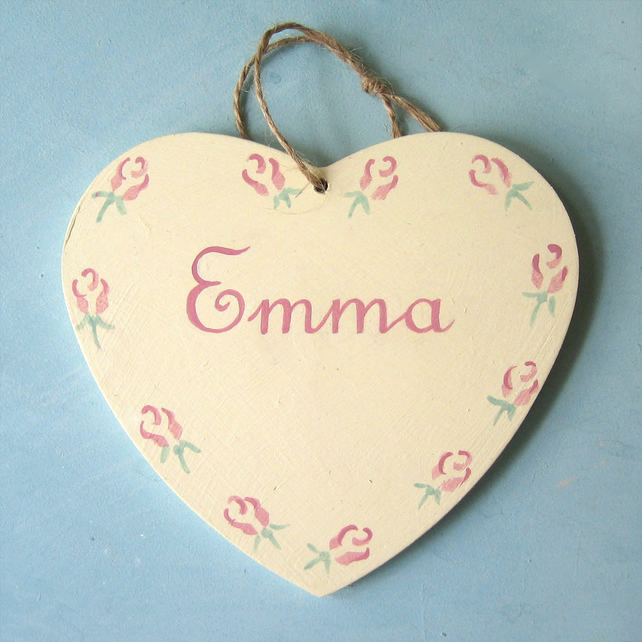 Girl's Gift, Roses Heart Door Hanger.