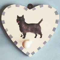 Cairn Terrier, Heart Shaped Dog Peg, Clothes Hook