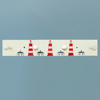 Wood Coat Rack with Lighthouses.