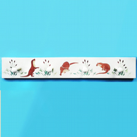 Playful Otters, Coat Rack, Wooden Clothes Rail
