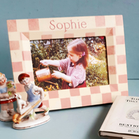 New Born Gift, Personalised, Check Photo-Frame.