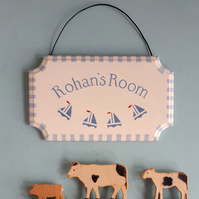 Sailing Boats, Personalised Name Sign