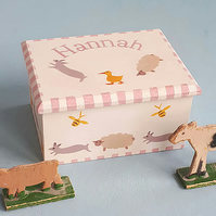 Farm Animals Keepsake Box, Personalised Gift
