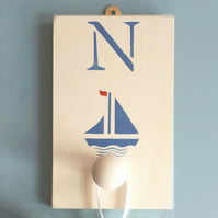 Sailboat, Personalised Coat Peg.