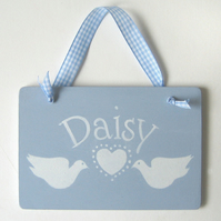 Personalised Plaque with Doves and Heart.