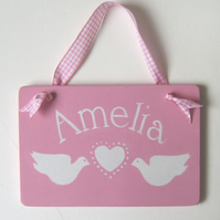 Girls Name Plaque With Hearts and Doves
