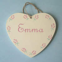 Child's Personalised Heart Door Hanger