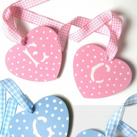 2 Personalised, Spotty Hearts, Cot Hangers