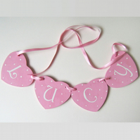 Personalised Heart Garland in Pink