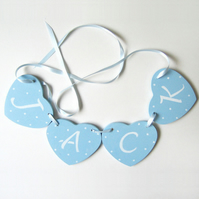 Personalised Heart Garland in Blue