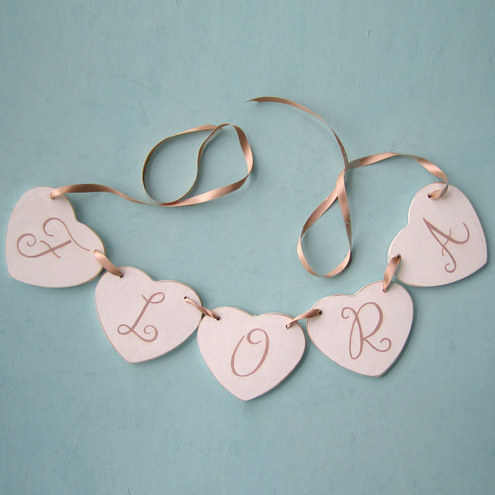Baby Gift Personalised Heart Garland in White