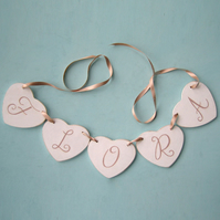Baby Gift, Personalised Heart Garland