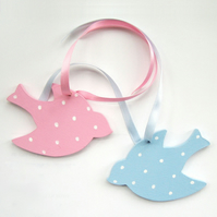 2 Pink and Blue Swallow Door Hangers