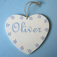 Sailboats, Personalised Heart Hanger